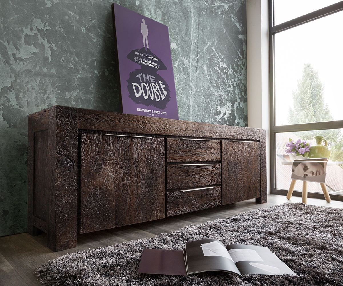 delife sideboard colombe 220 cm akazie tabak 2 t ren 3 sch be sideboards m bel24. Black Bedroom Furniture Sets. Home Design Ideas