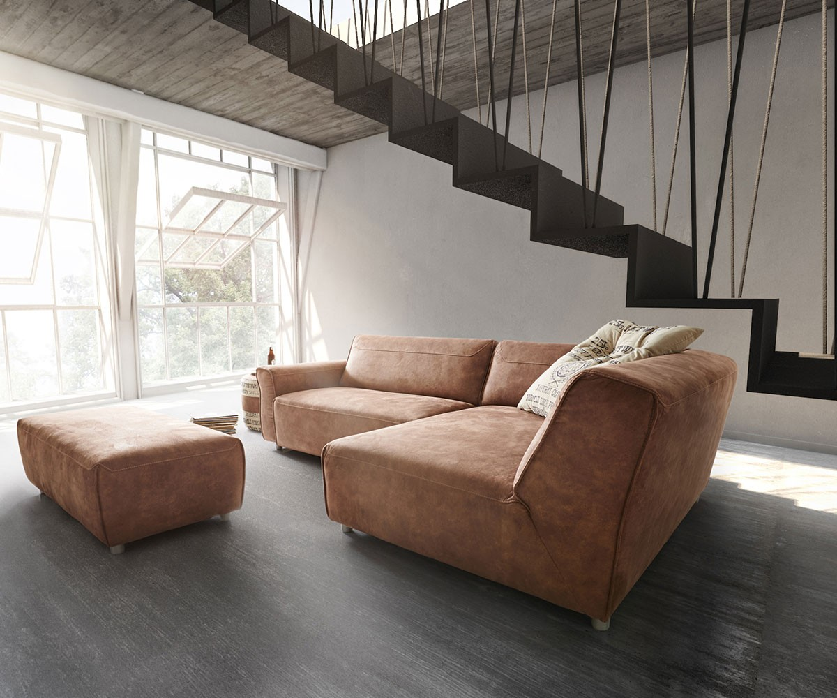 ultsch ecksofa loft 255x160 braun inklusive hocker by ultsch ecksofas ultsch polsterm bel. Black Bedroom Furniture Sets. Home Design Ideas