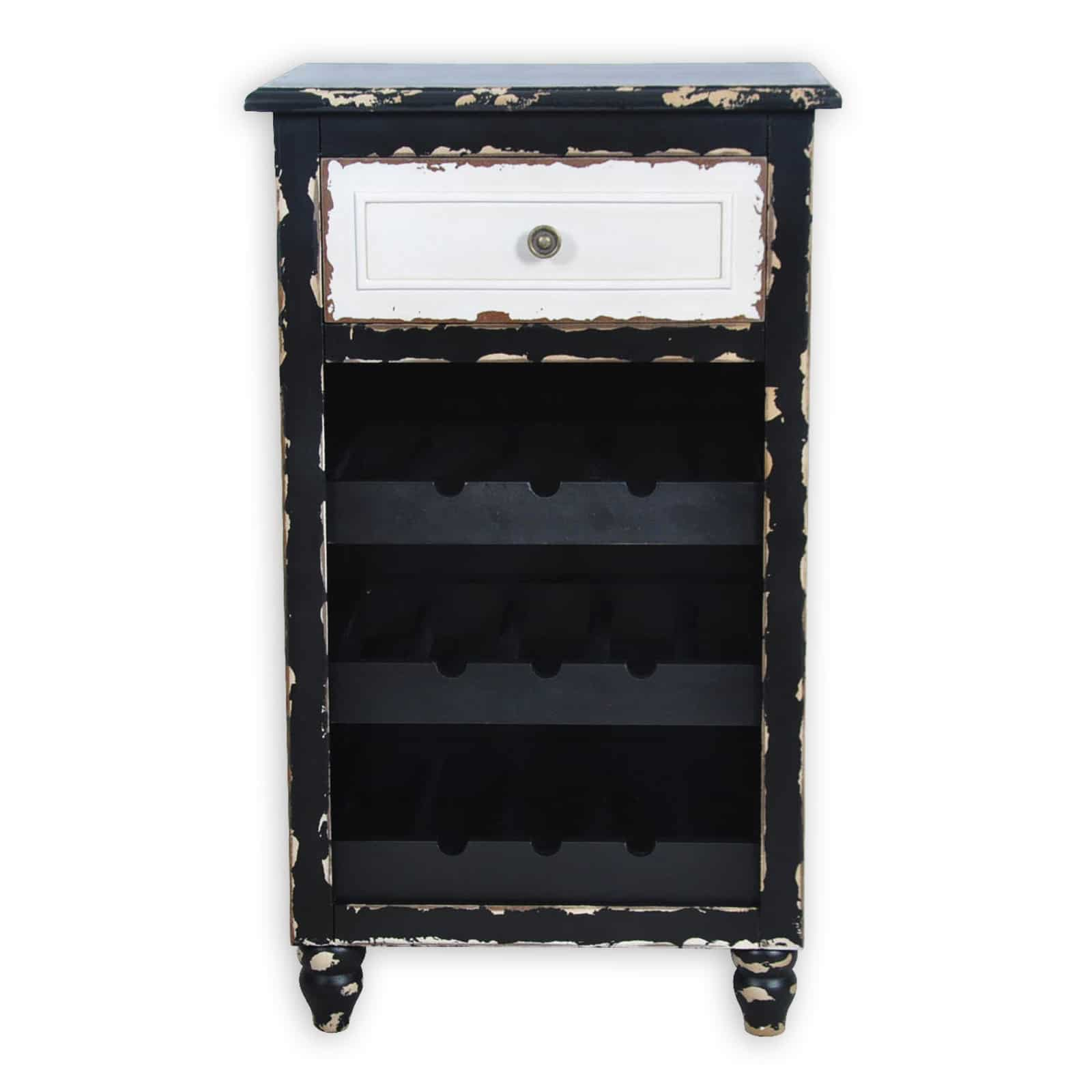 weinregal vintage schwarz wei f r 9 flaschen m bel24. Black Bedroom Furniture Sets. Home Design Ideas
