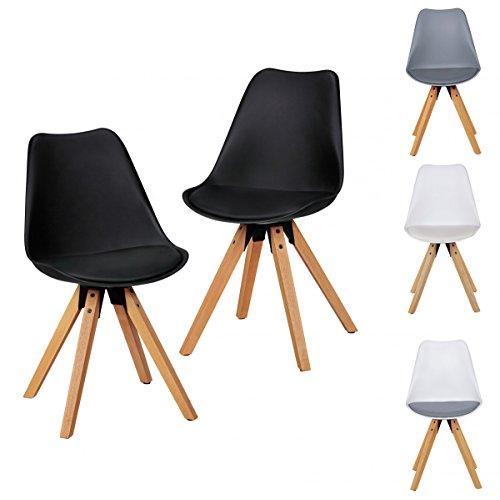 2er set retro esszimmer stuhl ohne armlehne sitzfl che kunstleder schwarz k chenstuhl mit. Black Bedroom Furniture Sets. Home Design Ideas