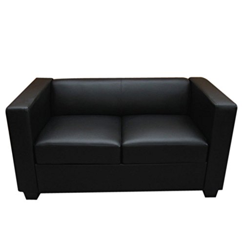 2er sofa couch loungesofa lille leder schwarz m bel24. Black Bedroom Furniture Sets. Home Design Ideas