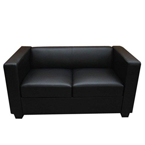 2er Sofa Couch Loungesofa Lille Leder Schwarz M Bel24