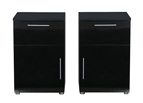 2x nachttisch infiniti nachtschrank nachtkonsole nachtkommode schwarz hochglanz m bel24. Black Bedroom Furniture Sets. Home Design Ideas