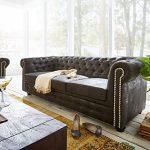3-Sitzer Chesterfield Anthrazit 200x92cm Antik Optik abgesteppt Sofa