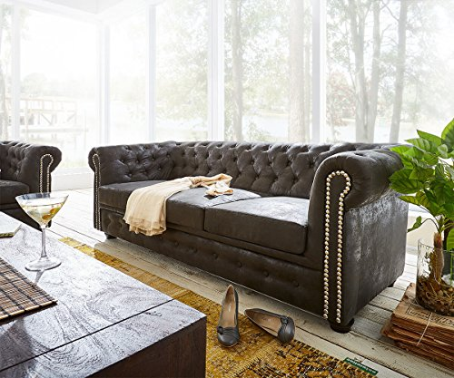 3 sitzer chesterfield anthrazit 200x92cm antik optik abgesteppt sofa m bel24. Black Bedroom Furniture Sets. Home Design Ideas