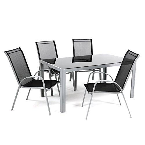 5tlg Alu Sitzgruppe Gartengarnitur Gartenset mit Glastisch ...