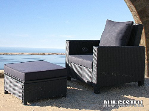 5tlg rattan set schwarz lounge loungem bel gartenm bel rattanm bel gartensessel tisch hocker. Black Bedroom Furniture Sets. Home Design Ideas