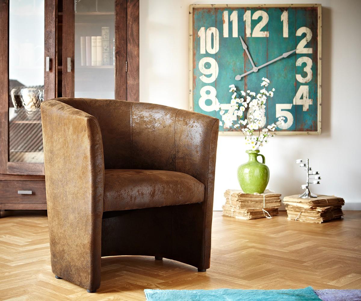7327 cocktailsessel cazim braun wildlederoptik loung m bel24. Black Bedroom Furniture Sets. Home Design Ideas
