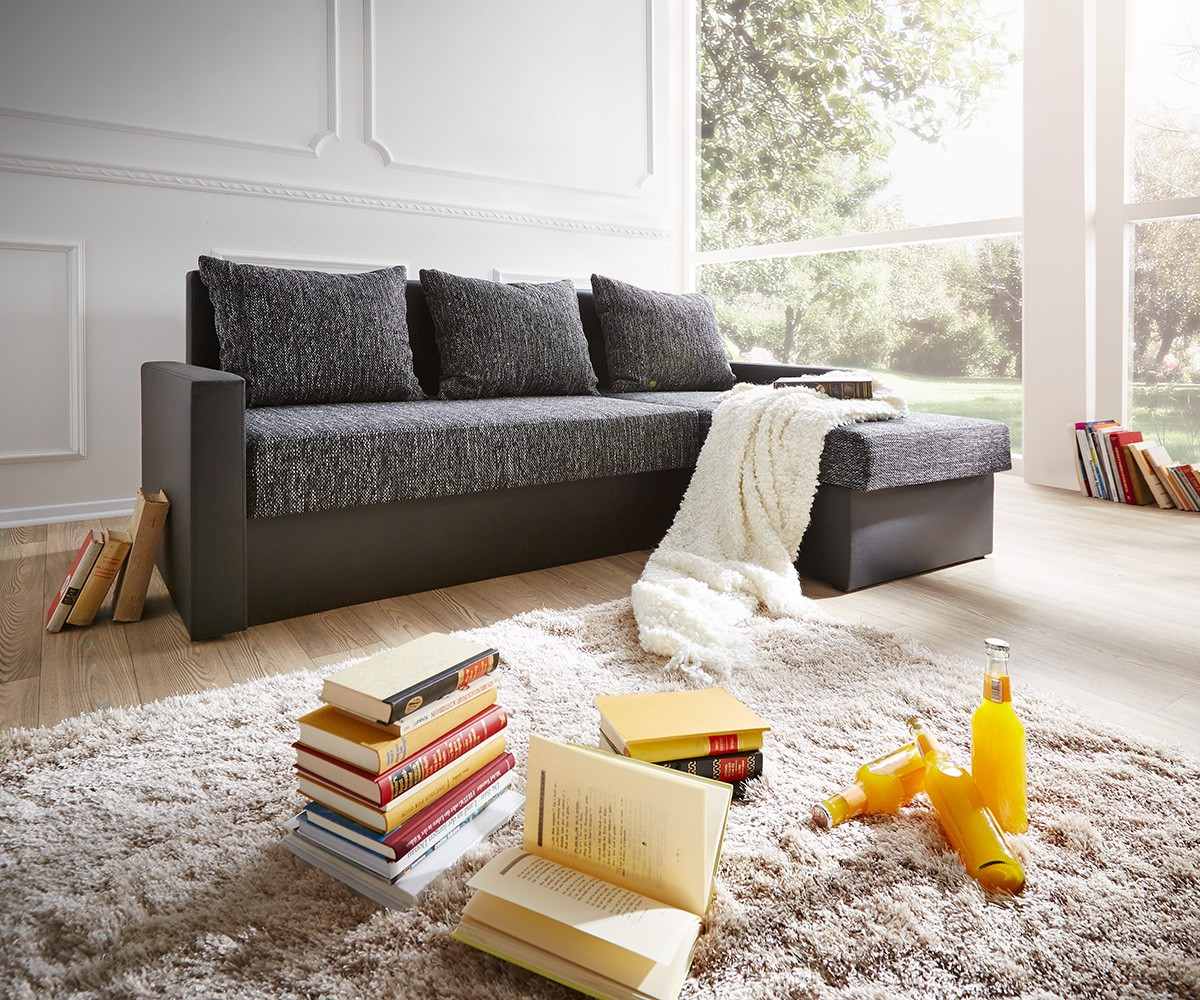 delife ecksofa avondi 225x145 cm schwarz mit schlaffunktion ecksofas m bel24. Black Bedroom Furniture Sets. Home Design Ideas