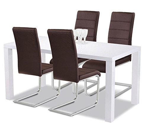 agionda esstisch stuhlset 1 x esstisch g teborg 120 hochglanz weiss lackiert 4. Black Bedroom Furniture Sets. Home Design Ideas