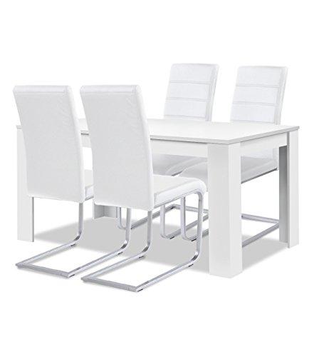 Esstisch Toledo ~ Agionda® Esstisch Stuhlset  1 x Esstisch Toledo Weiss 120 x 80 + 4 Freischwi