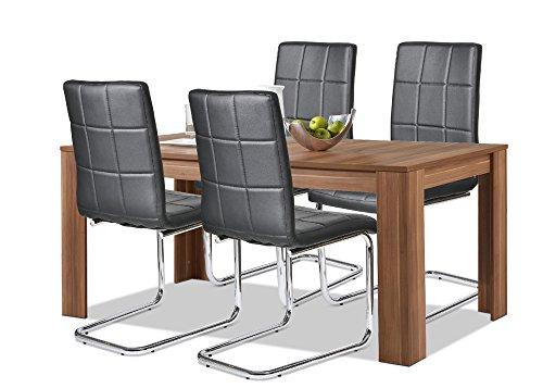 agionda esstisch stuhlset 1 x esstisch toledo nussbaum 4 freischwinger schwarz mit. Black Bedroom Furniture Sets. Home Design Ideas