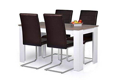 Esstisch Toledo ~ Agionda® Esstisch + Stuhlset  1 x Esstisch Toledo Sandeiche Nebraska 120 x 8