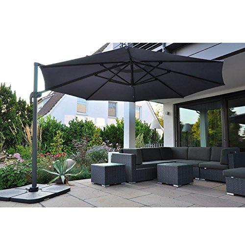 ampelschirm monaco 300x300cm gestell anthrazit bezug grau 0 m bel24. Black Bedroom Furniture Sets. Home Design Ideas