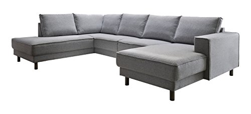 Atlantic Home Collection BINA Ecksofa Stoff, Recamiere links, 301 x 200 x 82 cm, grau