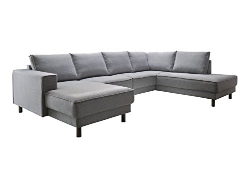 Atlantic Home Collection BINA Ecksofa Stoff, Recamiere rechts, 301 x 200 x 82 cm, grau