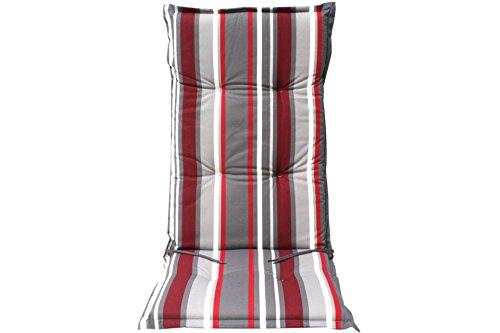 Auflage gartenstuhl borkum rot grau gestreift hochlehner 0 for Gartenstuhl auflage