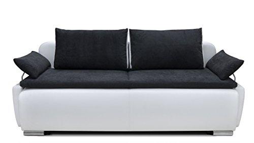 b famous 150397 lucas boxspring schlafsofa 105 x 224 x 97 cm materialmix pu kunstleder wei mit. Black Bedroom Furniture Sets. Home Design Ideas