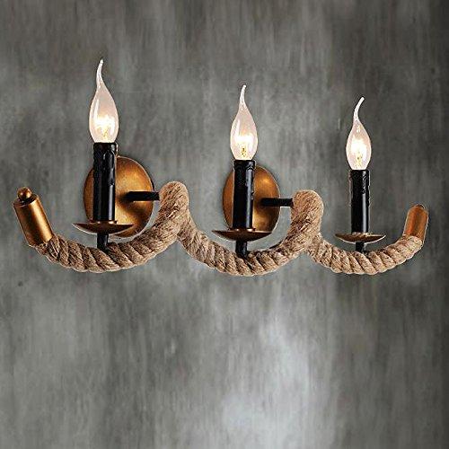 baycheer loft seil lampe welle 70cm breite wandleuchte antik retro pendelleuchte 3 flammige e14. Black Bedroom Furniture Sets. Home Design Ideas