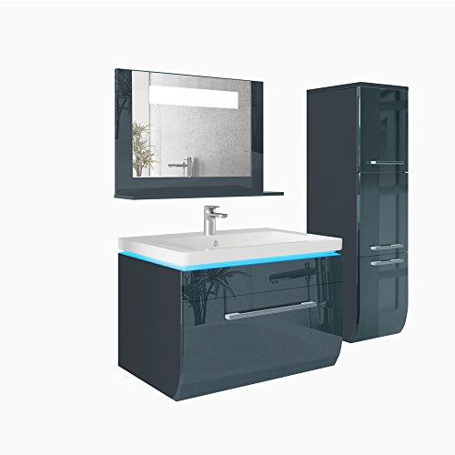 Led badm bel set 70cm anthrazit hochglanz waschtisch led for Badschrank mit waschbecken und spiegel