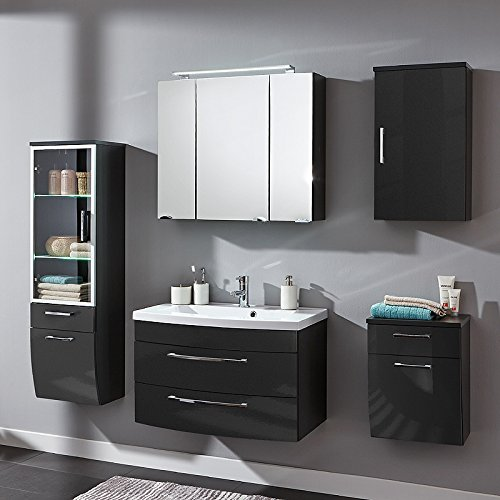 badmbel set verona in hochglanz anthrazit 0 m bel24. Black Bedroom Furniture Sets. Home Design Ideas