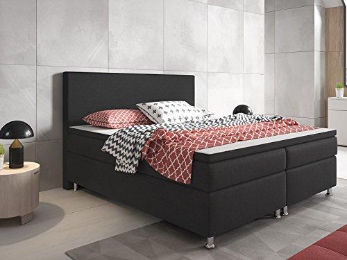 boxspringbett berlin hotelbett amerikanisches bett designerbett 180x200 cm webstoff anthrazit. Black Bedroom Furniture Sets. Home Design Ideas