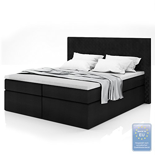 boxspringbett design doppelbett polsterbett bett hotelbett inkl topper 180x200 m bel24. Black Bedroom Furniture Sets. Home Design Ideas