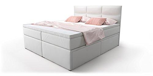 boxspringbett mit bettkasten schubkasten wei viana. Black Bedroom Furniture Sets. Home Design Ideas