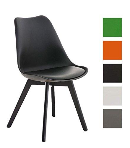clp design retro stuhl borneo mit holzgestell schwarz materialmix aus kunststoff kunstleder und. Black Bedroom Furniture Sets. Home Design Ideas