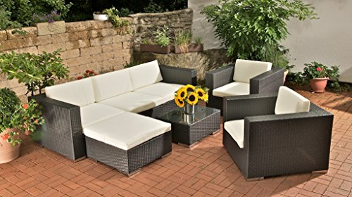 clp poly rattan 3 1 1 lounge m bel set alu gestell auflagen 6 cm dick m bel24. Black Bedroom Furniture Sets. Home Design Ideas