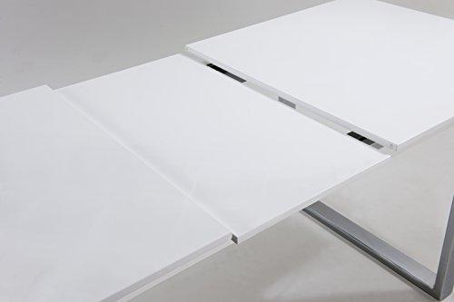 cavadore 86967 ausziehbarer kufentisch vienna tisch mit in hochglanz wei lackierter. Black Bedroom Furniture Sets. Home Design Ideas