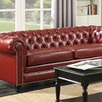 Chesterfield 3-Sitzer-Sofa Oxford Blut rot/braun Couch Sofa Tief geknöpfte aus
