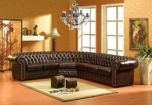 chesterfield r dunkelbraun ledersofa ecksofa eckcouch. Black Bedroom Furniture Sets. Home Design Ideas