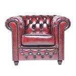 Chesterfield Showroom - Original Chesterfield Sessel - 1-Sitzer - Echtes Leder handgewischt - Antik-rot - 100 x 79 x 92