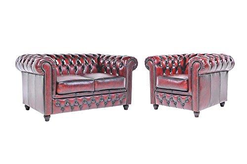 Chesterfield Showroom - Original Chesterfield Sofa / Couch - 1+2-Sitzer - Echtes Leder handgewischt - Antik-rot