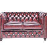 Chesterfield Showroom - Original Chesterfield Sofa / Couch - 2-Sitzer - Echtes Leder handgewischt - Antik-rot - 150 x 79 x 92