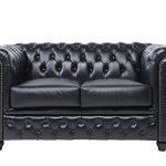 Chesterfield Showroom - Original Chesterfield Sofa / Couch - 2-Sitzer - Echtes Leder handgewischt - Schwarz- 150 x 79 x 92