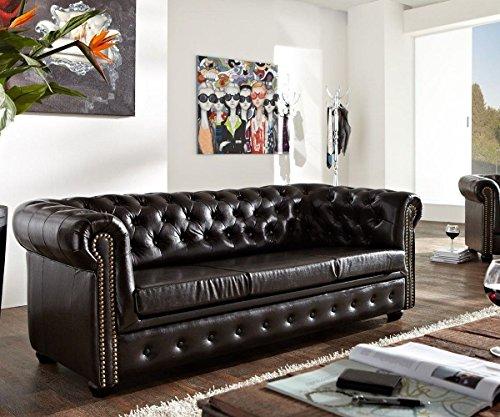 Couch Chesterfield Antikbraun 200x92 cm 3-Sitzer Sofa abgesteppt