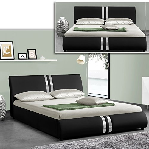 dublin schwarz doppelbett polsterbett bettgestell bett lattenrost kunstlederbett m bel24. Black Bedroom Furniture Sets. Home Design Ideas