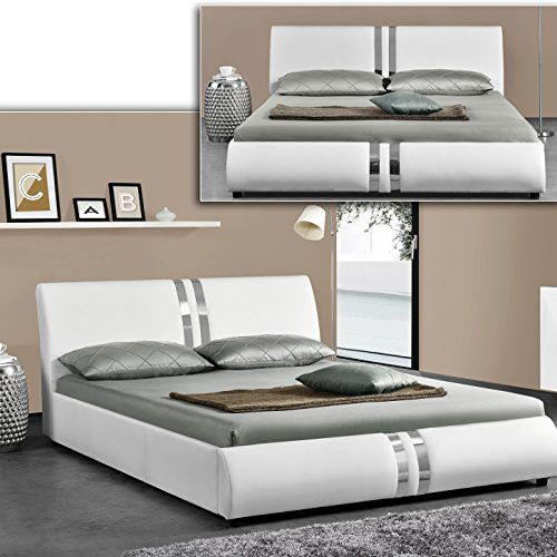 dublin weiss doppelbett polsterbett bettgestell bett lattenrost kunstlederbett m bel24. Black Bedroom Furniture Sets. Home Design Ideas