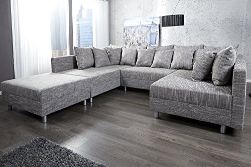 design sofa loft xxl mit hocker strukturstoff anthrazit m bel24. Black Bedroom Furniture Sets. Home Design Ideas