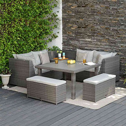 Dining Lounge Outliv Andaman Lounge Ecke Polyrattan Essgruppe