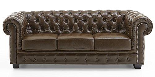 echt leder sofa chesterfield 3 sitzer antik braun couch exclusive m bel24. Black Bedroom Furniture Sets. Home Design Ideas