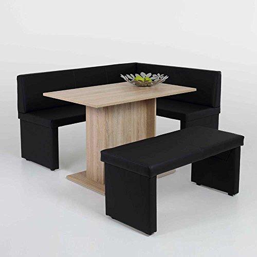 eckbankgruppe mit sulen esstisch eiche sonoma schwarz 3. Black Bedroom Furniture Sets. Home Design Ideas