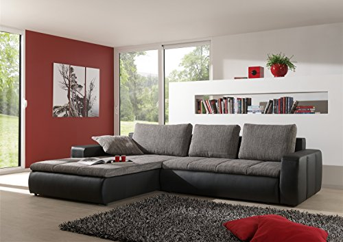 eckcouch belessa mit bettfunktion schlaffunktion sofa wohnlandschaft grau 01650 m bel24. Black Bedroom Furniture Sets. Home Design Ideas