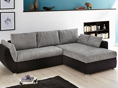ecksofa couch tifon 272x200cm strukturstoff grau mikrofaser schwarz bettfunktion polsterecke. Black Bedroom Furniture Sets. Home Design Ideas