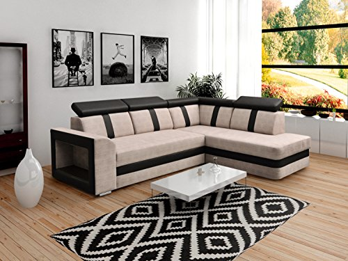 ecksofa sofa eckcouch couch mit schlaffunktion und bettkasten ottomane l form schlafsofa. Black Bedroom Furniture Sets. Home Design Ideas
