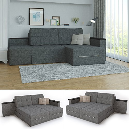 ecksofa mit schlaffunktion eckcouch sofa couch schlafsofa relax funktion grau m bel24. Black Bedroom Furniture Sets. Home Design Ideas