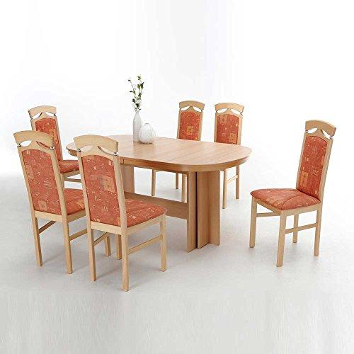 essgruppe in buche orange gemustert ovaler esstisch 7 teilig pharao24 m bel24. Black Bedroom Furniture Sets. Home Design Ideas