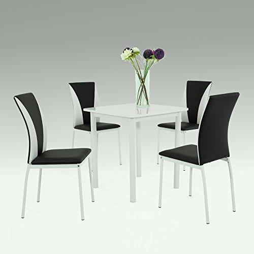 essgruppe in schwarz wei hochglanz modern 5 teilig. Black Bedroom Furniture Sets. Home Design Ideas